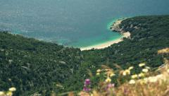 Picturesque mediterranean beach, Cres, Croatia - stock footage