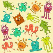 retro monsters, - stock illustration