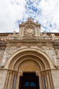 fine romanesque   main entrance  in the  san isidoro clllegiate of  leon - stock photo
