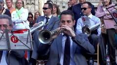 Sardana band (cobla) plays music Stock Footage