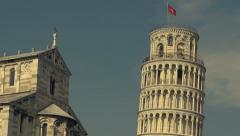 A close up and tilt of The Leaning Tower of Pisa - stock footage