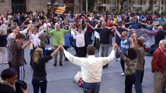 Sardana dance at the plaza near Barcelona Cathedral. Catalonia, Spain. - stock footage