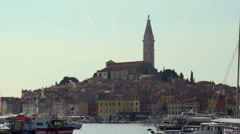 European harbor and town Stock Footage