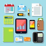 Business items and mobile devices - stock illustration