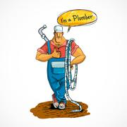 Plumber with water pipe and hose - stock illustration