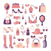 Woman accessories icon set - stock illustration