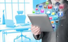 Business man using tablet PC - stock illustration