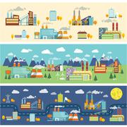 Industry buildings horizontal banners - stock illustration