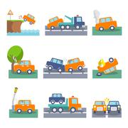Car crash icons - stock illustration