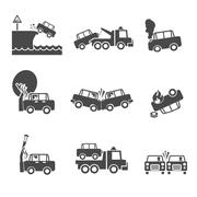 Black and white car crash icons - stock illustration