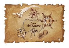 Sea adventure ancient poster Stock Illustration