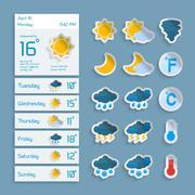 Weather Paper Widgets Set - stock illustration