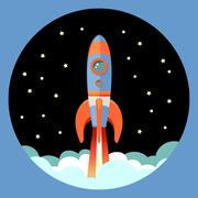 Rocket start emblem - stock illustration