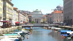 Dolly reveal of Trieste Grand Canal, Italy - stock footage