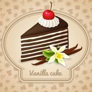 Vanilla layered cake poster - stock illustration