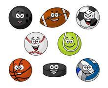 Set of cartoon sports equipment Stock Illustration