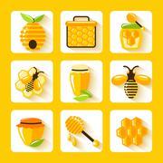 Honey Flat Icons Set - stock illustration