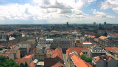 Pan of Zagreb cityscape - Croatia, Europe - stock footage