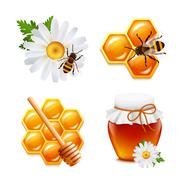 Honey icons set - stock illustration