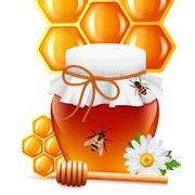 Honey jar with dipper and comb print - stock illustration