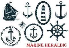 marine and nautical heraldic elements - stock illustration