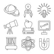 Physics Science Icons Stock Illustration