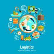 Stock Illustration of Logistic chain concept