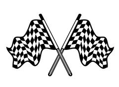 Crossed pair of waving checkered flags Stock Illustration