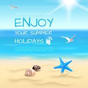 Seaside background layout Stock Illustration