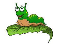 Green cartoon caterpillar insect Stock Illustration