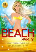 Night club beach party poster Stock Illustration