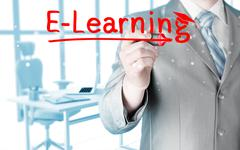 business man writing e-learning concept - stock illustration