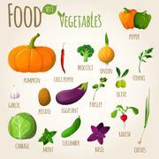 Food vegetables set Stock Illustration
