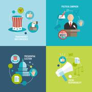 Elections icons flat decorative set Stock Illustration