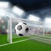 Soccer ball flies into the goal Stock Illustration