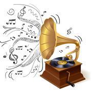 Music doodle gramophone Piirros