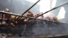 Bottom view of barbecue. Stock Footage