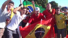 Belgians celebrating after soccer game in World Cup, Brazil Stock Footage