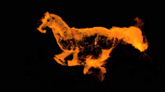 REAL FIRE, GALLOPING, BURNING HORSE WITH ALPHA CHANNEL Stock Footage