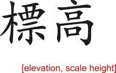 Stock Illustration of Chinese Sign for elevation, scale height