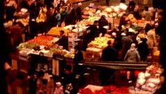 1970s Farmers market in Boston street and cars Haymarket crowd Stock Footage