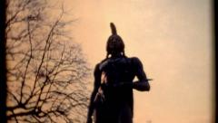 Indian ruler Massasoit Ousamequin Yellow Feather statue Plymouth Rock 1 - stock footage