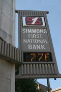 Bank Temperature Sign - stock photo