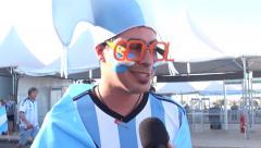 Argentine talk about soccer game in World Cup - Interview Stock Footage