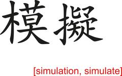Chinese Sign for simulation, simulate - stock illustration