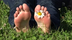 Woman feet with daisy flower relaxing in the grass, lady soles barefoot Stock Footage