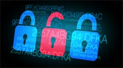 Internet Web Security - Locks and Password Animation - stock footage