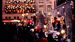 NY christmas hoilday 1970s 75 rockefeller plaza crowd vintage film historic Stock Footage