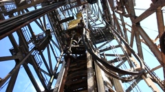 Top Drive System (TDS) Spinning for Oil Drilling Rig - Oilfield Industry Stock Footage
