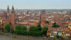 Cityscape of the romantic city of Verona in Northern Italy Stock Footage